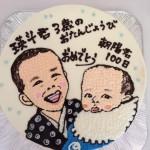 似顔絵イラスト入りバースデーケーキ